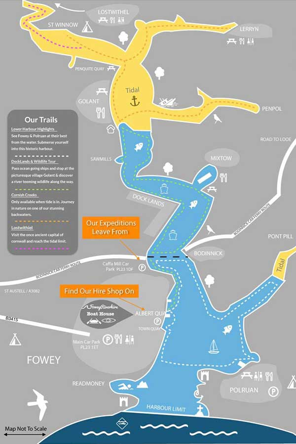 fowey river map for paddleboarding in cornwall