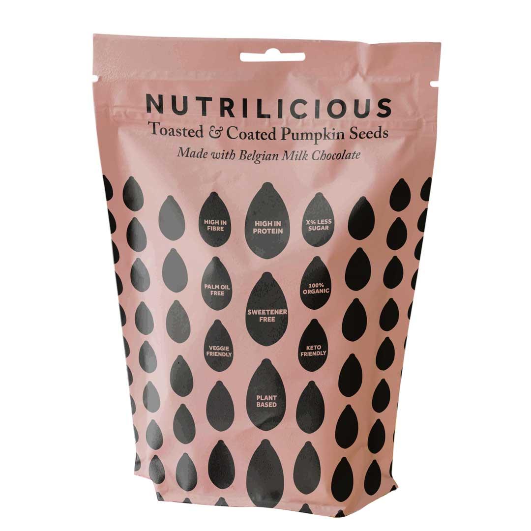 belgian milk chocolate pumpkin seed packaging by melissa carne