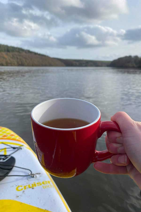 cup of tea on a paddleboard