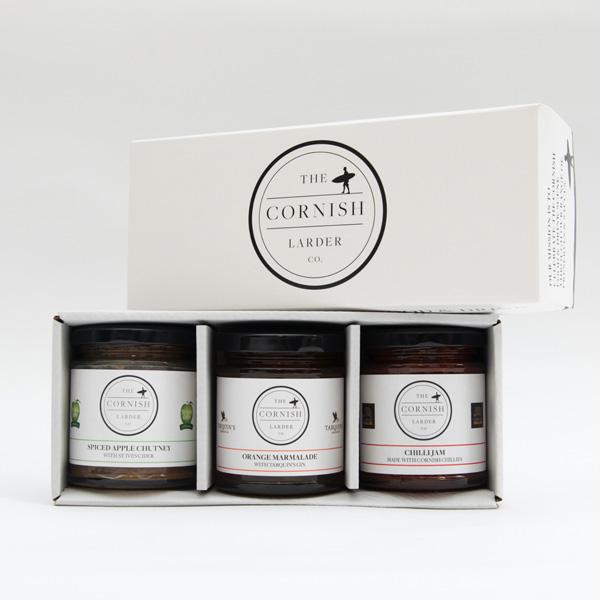the cornish larder company three jar preserve gift set