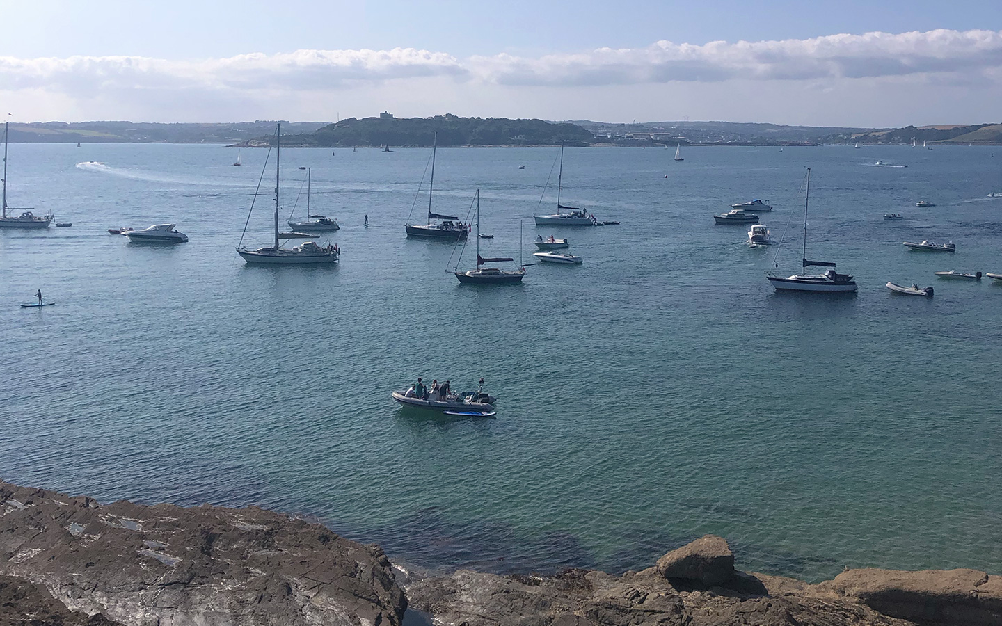 view of pendennis castle from st anthony's lighthouse