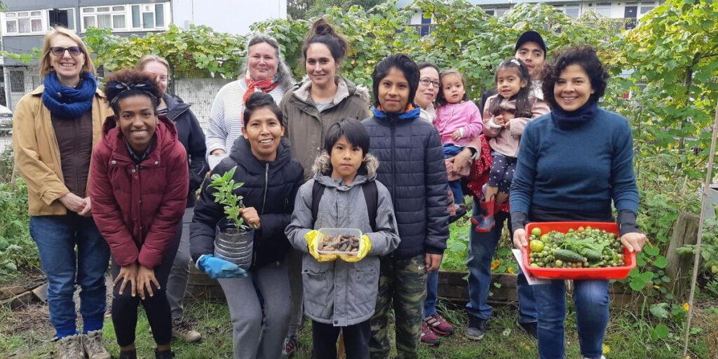 Growers on the PACT allotment in Caspian Street with their autumn harvest of green tomatoes and slugs with Debbie from Walworth Community Garden Network Southwark SE5