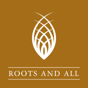Podcast Roots and All logo in white and tan