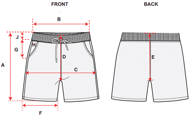 Measurement chart for girls shorts