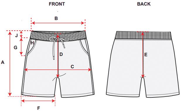 Measurement chart for girls shorts