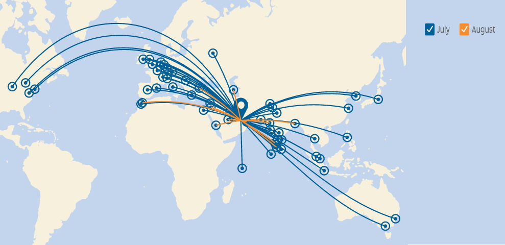 Etihad's Route Map for July and August