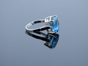 Natural Sky Blue Topaz Ring in 925 Sterling Silver Jewellery Silverycraft India Silver Jewels view