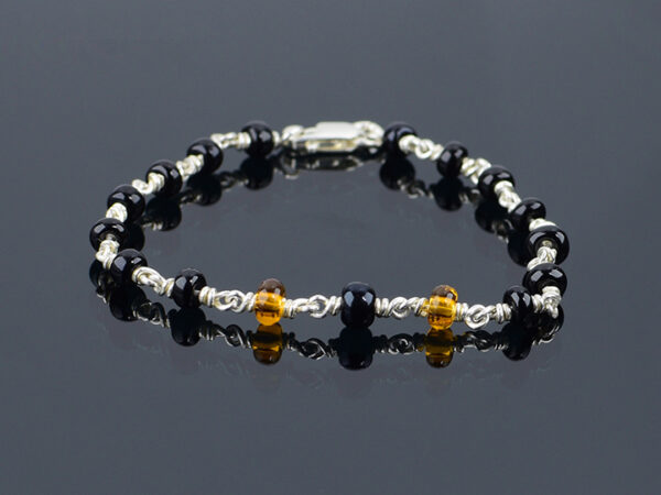 Black beads baby bracelet model SYC 2BTM7. Black beads and two yellow beads are beautifully arranged in 92.5 silver chain. Both baby girls and baby boys have use. This both yellow and black beads are safe for kids. silver chain is 925 silver [non sterling silver]. This silver chain is skin friendly and flexible in nature. It is daily usable product.Hooks and rings are also provided to adjust the bracelet according to hand size of kids. Good quality beads are used here. This bracelet is mainly used to avoid NAZAR, which means superstitious power cause injury or bad luck on the person to whom it is direct. For kids it is very useful to get away from nazar or dhrishti dosha.Black beads baby bracelet model SYC 2BTM7. Black beads and two yellow beads are beautifully arranged in 92.5 silver chain. Both baby girls and baby boys have use. This both yellow and black beads are safe for kids. silver chain is 925 silver [non sterling silver]. This silver chain is skin friendly and flexible in nature. It is daily usable product.Hooks and rings are also provided to adjust the bracelet according to hand size of kids. Good quality beads are used here. This bracelet is mainly used to avoid NAZAR, which means superstitious power cause injury or bad luck on the person to whom it is direct. For kids it is very useful to get away from nazar or dhrishti dosha.