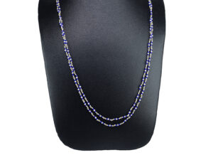 "925 Sterling Silver Layer Chain Necklace with blue beads Model SYC 1CHF022. This is ideal  for womens and girls. Unique piece comes on contemporay style perfect for all outfits. Suitable for daily use,office use and perfect gift for our loved ones.  Importance of 925 Sterling Silver : We are aware of the trending style and beauty of Sterling silver but the Most Important Part of Sterling Silver 925 is the health benefits. Silver ions in Silver material has a proven record of antibiotic nature. The excellent way to obtain health improvement from 925 Sterling silver is when it get in touch with the skin. Silver is antibacterial too and helps to improve blood circulation and help remove toxins present in the human body. Some studies even mention about the defensive power of Silver Jewelry against Hazardous electro magnetic radiations emitting from Mobile phones or Laptops. Electrical and Thermal conductivity of Sterling silver 925 is the highlighted quality which indicate the capacity of Sterling silver to distribute electrical power as well as heat across the body.This is why Sterling silver boost the blood circulation, typical healing property and maintain the heat balance. If illnesses arrives , temperature level increases or hormonal change occurs Sterling silver wearing get appear more darker in color. Original 925 Sterling silver are more than 99% non allergic and skin friendly in nature. But Cheap Silver Plated Jewelry available in popular online sites ( in some websites they even wrongly mentioned it as sterling silver ) are dangerous for Skin especially those who have sensitive skin. We recommend to use Genuine quality Sterling Silver to avail health benefits and to avoid cheap fancy Silver Products.  Pure Silver and 92.5 Sterling Silver : 100% Pure Silver also known as Fine Silver is heavily soft in nature , very malleable and most likely it will get damaged within a short time. It's not Practically Possible to make Jewelry Products in 100 Percentage Pure silver due because Jewels will bend and have to be straightened. To tackle this and same time to remain the highest Silver Material Quality, 925 Sterling Silver is introduced. Sterling Silver contains 92.5 % Pure silver and alloys on other 7.5 % usually Copper. This helps sterling silver to increase hardness, durability, strength and reduce tarnishing. Silver designers can made Outstanding Trending Silverware collection with sterling silver 925 due to the mentioned properties. 925 Sterling silver Jewellery gives more beauty and elegant look. Sterling silver even suits for black skin tones. Sterling silver enhances beauty and give a pretty modern look. ""Sterling silver 925"" word is associated with superior quality since ancient times. Silverycraft Luxury Sterling silver Jewel's are affordable too.  Caring the Valuable Silver Jewels : Silverycraft Products especially Sterling Silver 925 need less care compared to other brands. Still it's important to do proper care mainly Keep your precious Silver away from high humidity, Chemicals, Oils, Perfumes, Hair products, water containing Chlorine etc which may cause tarnish in silver. Precious Stones used in Silver Jewels need Special care. Flannel Treated Bags & cloth helps to retard tarnishing in Silver while Long Storage or you can use a Cloth pouch or Separate box for Storage at Home. You can Clean Sterling silver using very soft Banyan cloth. After the tarnish disappears ,rinse your Silver jewellery with water and dry it using a soft cloth. Its is easy to care and usually no maintenance issue occurs. Usual Tarnishing or Silver Color Variation (oxidation) due to interaction with atmosphere is common and it also indicate the symbol of Original silver content in the jewellery. Regular Caring will definitely reduce tarnishing to a great extend.SILVERYCRAFT original Silver craft jewellery in India and genuine sterling silver 92.5 jewelry collection silver products silver gifts silver wedding collections female male kids silver sterling 925 silver jewels rare collection silvers Fashion silver fashonable silver crafts Indian made silver e commerce website online silver purchase buy silver jewelleries online SILVERYCRAFT Silver jewellery's Silvery crafts crafted silvers India's fine quality silver at www.silverycraft.com"
