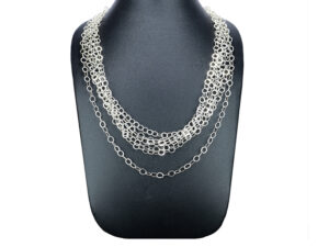 925 Sterling Silver Beautiful Layer Necklace For Womens And Girls Model SYC 1N042. This is ideal for womens and girls. Unique piece comes on contemporay style perfect for all outfits. Suitable for daily use,office use and perfect gift for our loved ones. Importance of 925 Sterling Silver : We are aware of the trending style and beauty of Sterling silver but the Most Important Part of Sterling Silver 925 is the health benefits. Silver ions in Silver material has a proven record of antibiotic nature. The excellent way to obtain health improvement from 925 Sterling silver is whenit get in touch with the skin. Silver is antibacterial too and helps to improve blood circulation and help remove toxins present in the human body. Some studies even mention about the defensivepower of Silver JewelryagainstHazardous electromagnetic radiations emittingfrom Mobile phones or Laptops. Electrical and Thermal conductivity of Sterling silver 925 is the highlighted quality which indicate the capacity of Sterling silver to distribute electrical power as well as heat across the body.This is why Sterling silver boost the blood circulation, typical healing property and maintain the heat balance. If illnesses arrives , temperature level increases or hormonal change occurs Sterling silver wearing get appear more darker in color. Original 925 Sterling silver are more than 99% non allergic and skin friendly in nature. But Cheap Silver Plated Jewelryavailable in popular online sites ( in some websites they even wrongly mentioned it as sterling silver ) are dangerous for Skin especially those who have sensitive skin. We recommendto use Genuine quality Sterling Silver to avail health benefits and to avoid cheap fancy Silver Products. Pure Silver and 92.5 Sterling Silver : 100% Pure Silver also known as Fine Silver is heavily soft in nature , very malleable and most likely it will get damaged within a short time. It's not Practically Possible to make JewelryProducts in 100 Percentage Pure silver d