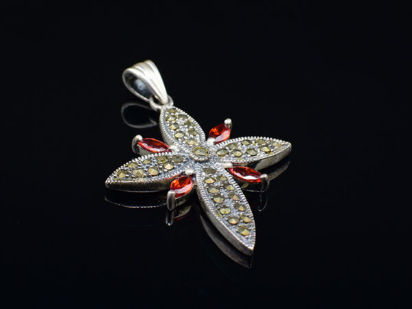 925 Sterling Silver Flower Shape Locket With Marcasite And Red Stones Pendant Model SYC 1LS085.This is ideal for womens and girls. Unique piece comes on contemporary style perfect for all outfits. Suitable for birthday functions, wedding ceremony, valentine gifts,engagements and perfect gift for our loved ones. Importance of 925 Sterling Silver : We are aware of the trending style and beauty of Sterling silver but the Most Important Part of Sterling Silver 925 is the health benefits. Silver ions in Silver material has a proven record of antibiotic nature. The excellent way to obtain health improvement from 925 Sterling silver is whenit get in touch with the skin. Silver is antibacterial too and helps to improve blood circulation and help remove toxins present in the human body. Some studies even mention about the defensivepower of Silver JewelryagainstHazardous electromagnetic radiations emittingfrom Mobile phones or Laptops. Electrical and Thermal conductivity of Sterling silver 925 is the highlighted quality which indicate the capacity of Sterling silver to distribute electrical power as well as heat across the body.This is why Sterling silver boost the blood circulation, typical healing property and maintain the heat balance. If illnesses arrives , temperature level increases or hormonal change occurs Sterling silver wearing get appear more darker in color. Original 925 Sterling silver are more than 99% non allergic and skin friendly in nature. But Cheap Silver Plated Jewelryavailable in popular online sites ( in some websites they even wrongly mentioned it as sterling silver ) are dangerous for Skin especially those who have sensitive skin. We recommendto use Genuine quality Sterling Silver to avail health benefits and to avoid cheap fancy Silver Products. Pure Silver and 92.5 Sterling Silver : 100% Pure Silver also known as Fine Silver is heavily soft in nature , very malleable and most likely it will get damaged within a short time. It's not Practically Possib