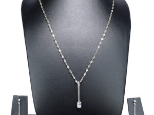"925 Sterling Silver Chain With White Stone Pendant Model SYC 1N067. This is ideal  for Womens and girls. Unique piece comes on contemporay style perfect for all outfits. Suitable for daily use,office use and perfect gift for our loved ones.  Importance of 925 Sterling Silver : We are aware of the trending style and beauty of Sterling silver but the Most Important Part of Sterling Silver 925 is the health benefits. Silver ions in Silver material has a proven record of antibiotic nature. The excellent way to obtain health improvement from 925 Sterling silver is when it get in touch with the skin. Silver is antibacterial too and helps to improve blood circulation and help remove toxins present in the human body. Some studies even mention about the defensive power of Silver Jewelry against Hazardous electro magnetic radiations emitting from Mobile phones or Laptops. Electrical and Thermal conductivity of Sterling silver 925 is the highlighted quality which indicate the capacity of Sterling silver to distribute electrical power as well as heat across the body.This is why Sterling silver boost the blood circulation, typical healing property and maintain the heat balance. If illnesses arrives , temperature level increases or hormonal change occurs Sterling silver wearing get appear more darker in color. Original 925 Sterling silver are more than 99% non allergic and skin friendly in nature. But Cheap Silver Plated Jewelry available in popular online sites ( in some websites they even wrongly mentioned it as sterling silver ) are dangerous for Skin especially those who have sensitive skin. We recommend to use Genuine quality Sterling Silver to avail health benefits and to avoid cheap fancy Silver Products.  Pure Silver and 92.5 Sterling Silver : 100% Pure Silver also known as Fine Silver is heavily soft in nature , very malleable and most likely it will get damaged within a short time. It's not Practically Possible to make Jewelry Products in 100 Percentage Pure silver due because Jewels will bend and have to be straightened. To tackle this and same time to remain the highest Silver Material Quality, 925 Sterling Silver is introduced. Sterling Silver contains 92.5 % Pure silver and alloys on other 7.5 % usually Copper. This helps sterling silver to increase hardness, durability, strength and reduce tarnishing. Silver designers can made Outstanding Trending Silverware collection with sterling silver 925 due to the mentioned properties. 925 Sterling silver Jewellery gives more beauty and elegant look. Sterling silver even suits for black skin tones. Sterling silver enhances beauty and give a pretty modern look. ""Sterling silver 925"" word is associated with superior quality since ancient times. Silverycraft Luxury Sterling silver Jewel's are affordable too.  Caring the Valuable Silver Jewels : Silverycraft Products especially Sterling Silver 925 need less care compared to other brands. Still it's important to do proper care mainly Keep your precious Silver away from high humidity, Chemicals, Oils, Perfumes, Hair products, water containing Chlorine etc which may cause tarnish in silver. Precious Stones used in Silver Jewels need Special care. Flannel Treated Bags & cloth helps to retard tarnishing in Silver while Long Storage or you can use a Cloth pouch or Separate box for Storage at Home. You can Clean Sterling silver using very soft Banyan cloth. After the tarnish disappears ,rinse your Silver jewellery with water and dry it using a soft cloth. Its is easy to care and usually no maintenance issue occurs. Usual Tarnishing or Silver Color Variation (oxidation) due to interaction with atmosphere is common and it also indicate the symbol of Original silver content in the jewellery. Regular Caring will definitely reduce tarnishing to a great extend.SILVERYCRAFT original Silver craft jewellery in India and genuine sterling silver 92.5 jewelry collection silver products silver gifts silver wedding collections female male kids silver sterling 925 silver jewels rare collection silvers Fashion silver fashonable silver crafts Indian made silver e commerce website online silver purchase buy silver jewelleries online SILVERYCRAFT Silver jewellery's Silvery crafts crafted silvers India's fine quality silver at www.silverycraft.com"