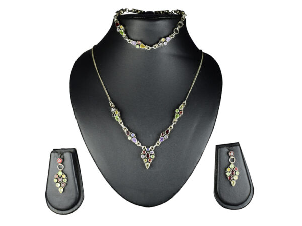925 Sterling Silver Chain Necklace of Semi Precious Multicolor Stones with Pendant & semi precious multicolor Stone Earring Set Model SYC 1N048. This is ideal for womens and girls . Unique piece comes on contemporary style perfect for all outfits. Suitable for perfect gift for our loved ones ,birthday functions, wedding ceremony, valentine gifts,engagements . Silver design makes more elegant and beautiful look. Importance of 925 Sterling Silver : We are aware of the trending style and beauty of Sterling silver but the Most Important Part of Sterling Silver 925 is the health benefits. Silver ions in Silver material has a proven record of antibiotic nature. The excellent way to obtain health improvement from 925 Sterling silver is when it get in touch with the skin. Silver is antibacterial too and helps to improve blood circulation and help remove toxins present in the human body. Some studies even mention about the defensive power of Silver Jewelry against Hazardous electro magnetic radiations emitting from Mobile phones or Laptops. Electrical and Thermal conductivity of Sterling silver 925 is the highlighted quality which indicate the capacity of Sterling silver to distribute electrical power as well as heat across the body.This is why Sterling silver boost the blood circulation, typical healing property and maintain the heat balance. If illnesses arrives , temperature level increases or hormonal change occurs Sterling silver wearing get appear more darker in color. Original 925 Sterling silver are more than 99% non allergic and skin friendly in nature. But Cheap Silver Plated Jewelry available in popular online sites ( in some websites they even wrongly mentioned it as sterling silver ) are dangerous for Skin especially those who have sensitive skin. We recommend to use Genuine quality Sterling Silver to avail health benefits and to avoid cheap fancy Silver Products. Pure Silver and 92.5 Sterling Silver : 100% Pure Silver also known as Fine Silver is heavily soft i