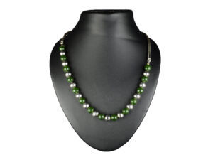 925 Sterling Silver Chain Necklace With Silver Beads Green Beads Model SYC 1N054. This is ideal for womens and girls . Unique piece comes on contemporary style perfect for all outfits. Suitable for daily use,office use and perfect gift for our loved ones. Silver design beads makes more elegant and beautiful look. Importance of 925 Sterling Silver : We are aware of the trending style and beauty of Sterling silver but the Most Important Part of Sterling Silver 925 is the health benefits. Silver ions in Silver material has a proven record of antibiotic nature. The excellent way to obtain health improvement from 925 Sterling silver is whenit get in touch with the skin. Silver is antibacterial too and helps to improve blood circulation and help remove toxins present in the human body. Some studies even mention about the defensivepower of Silver JewelryagainstHazardous electromagnetic radiations emittingfrom Mobile phones or Laptops. Electrical and Thermal conductivity of Sterling silver 925 is the highlighted quality which indicate the capacity of Sterling silver to distribute electrical power as well as heat across the body.This is why Sterling silver boost the blood circulation, typical healing property and maintain the heat balance. If illnesses arrives , temperature level increases or hormonal change occurs Sterling silver wearing get appear more darker in color. Original 925 Sterling silver are more than 99% non allergic and skin friendly in nature. But Cheap Silver Plated Jewelryavailable in popular online sites ( in some websites they even wrongly mentioned it as sterling silver ) are dangerous for Skin especially those who have sensitive skin. We recommendto use Genuine quality Sterling Silver to avail health benefits and to avoid cheap fancy Silver Products. Pure Silver and 92.5 Sterling Silver : 100% Pure Silver also known as Fine Silver is heavily soft in nature , very malleable and most likely it will get damaged within a short time. It's not Practically Poss