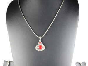 "925 Sterling Silver Chain Necklace With Marcasite & Semi Precious Red Stone Pendant with Semi Precious Stones Earring Set Model SYC 2N37. This is ideal for womens and girls . Unique piece comes on contemporary style perfect for all outfits. Suitable for office use and perfect gift for our loved ones.  Importance of 925 Sterling Silver : We are aware of the trending style and beauty of Sterling silver but the Most Important Part of Sterling Silver 925 is the health benefits. Silver ions in Silver material has a proven record of antibiotic nature. The excellent way to obtain health improvement from 925 Sterling silver is when it get in touch with the skin. Silver is antibacterial too and helps to improve blood circulation and help remove toxins present in the human body. Some studies even mention about the defensive power of Silver Jewelry against Hazardous electro magnetic radiations emitting from Mobile phones or Laptops. Electrical and Thermal conductivity of Sterling silver 925 is the highlighted quality which indicate the capacity of Sterling silver to distribute electrical power as well as heat across the body.This is why Sterling silver boost the blood circulation, typical healing property and maintain the heat balance. If illnesses arrives , temperature level increases or hormonal change occurs Sterling silver wearing get appear more darker in color. Original 925 Sterling silver are more than 99% non allergic and skin friendly in nature. But Cheap Silver Plated Jewelry available in popular online sites ( in some websites they even wrongly mentioned it as sterling silver ) are dangerous for Skin especially those who have sensitive skin. We recommend to use Genuine quality Sterling Silver to avail health benefits and to avoid cheap fancy Silver Products.  Pure Silver and 92.5 Sterling Silver : 100% Pure Silver also known as Fine Silver is heavily soft in nature , very malleable and most likely it will get damaged within a short time. It's not Practically Possible to make Jewelry Products in 100 Percentage Pure silver due because Jewels will bend and have to be straightened. To tackle this and same time to remain the highest Silver Material Quality, 925 Sterling Silver is introduced. Sterling Silver contains 92.5 % Pure silver and alloys on other 7.5 % usually Copper. This helps sterling silver to increase hardness, durability, strength and reduce tarnishing. Silver designers can made Outstanding Trending Silverware collection with sterling silver 925 due to the mentioned properties. 925 Sterling silver Jewellery gives more beauty and elegant look. Sterling silver even suits for black skin tones. Sterling silver enhances beauty and give a pretty modern look. ""Sterling silver 925"" word is associated with superior quality since ancient times. Silverycraft Luxury Sterling silver Jewel's are affordable too.  Caring the Valuable Silver Jewels : Silverycraft Products especially Sterling Silver 925 need less care compared to other brands. Still it's important to do proper care mainly Keep your precious Silver away from high humidity, Chemicals, Oils, Perfumes, Hair products, water containing Chlorine etc which may cause tarnish in silver. Precious Stones used in Silver Jewels need Special care. Flannel Treated Bags & cloth helps to retard tarnishing in Silver while Long Storage or you can use a Cloth pouch or Separate box for Storage at Home. You can Clean Sterling silver using very soft Banyan cloth. After the tarnish disappears ,rinse your Silver jewellery with water and dry it using a soft cloth. Its is easy to care and usually no maintenance issue occurs. Usual Tarnishing or Silver Color Variation (oxidation) due to interaction with atmosphere is common and it also indicate the symbol of Original silver content in the jewellery. Regular Caring will definitely reduce tarnishing to a great extend.SILVERYCRAFT original Silver craft jewellery in India and genuine sterling silver 92.5 jewelry collection silver products silver gifts silver wedding collections female male kids silver sterling 925 silver jewels rare collection silvers Fashion silver fashonable silver crafts Indian made silver e commerce website online silver purchase buy silver jewelleries online SILVERYCRAFT Silver jewellery's Silvery crafts crafted silvers India's fine quality silver at www.silverycraft.com"