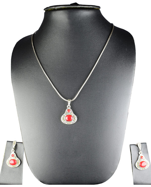 925 Sterling Silver Chain Necklace With Marcasite & Semi Precious Red Stone Pendant with Semi Precious Stones Earring Set Model SYC 2N37. This is ideal for womens and girls . Unique piece comes on contemporary style perfect for all outfits. Suitable for office use and perfect gift for our loved ones. Importance of 925 Sterling Silver : We are aware of the trending style and beauty of Sterling silver but the Most Important Part of Sterling Silver 925 is the health benefits. Silver ions in Silver material has a proven record of antibiotic nature. The excellent way to obtain health improvement from 925 Sterling silver is whenit get in touch with the skin. Silver is antibacterial too and helps to improve blood circulation and help remove toxins present in the human body. Some studies even mention about the defensivepower of Silver JewelryagainstHazardous electromagnetic radiations emittingfrom Mobile phones or Laptops. Electrical and Thermal conductivity of Sterling silver 925 is the highlighted quality which indicate the capacity of Sterling silver to distribute electrical power as well as heat across the body.This is why Sterling silver boost the blood circulation, typical healing property and maintain the heat balance. If illnesses arrives , temperature level increases or hormonal change occurs Sterling silver wearing get appear more darker in color. Original 925 Sterling silver are more than 99% non allergic and skin friendly in nature. But Cheap Silver Plated Jewelryavailable in popular online sites ( in some websites they even wrongly mentioned it as sterling silver ) are dangerous for Skin especially those who have sensitive skin. We recommendto use Genuine quality Sterling Silver to avail health benefits and to avoid cheap fancy Silver Products. Pure Silver and 92.5 Sterling Silver : 100% Pure Silver also known as Fine Silver is heavily soft in nature , very malleable and most likely it will get damaged within a short time. It's not Practically Possible to make 