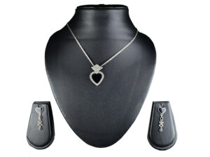 "925 Sterling Silver Chain Necklace Heart Shape Pendant With Marcasite Stone And Black Stone and Earring Set Model SYC 2N40. This is ideal for womens and girls . Unique piece comes on contemporary style perfect for all outfits. Suitable for daily use,office use and perfect gift for our loved ones. Silver design beads makes more elegant and beautiful look. Importance of 925 Sterling Silver : We are aware of the trending style and beauty of Sterling silver but the Most Important Part of Sterling Silver 925 is the health benefits. Silver ions in Silver material has a proven record of antibiotic nature. The excellent way to obtain health improvement from 925 Sterling silver is when it get in touch with the skin. Silver is antibacterial too and helps to improve blood circulation and help remove toxins present in the human body. Some studies even mention about the defensive power of Silver Jewelry against Hazardous electro magnetic radiations emitting from Mobile phones or Laptops. Electrical and Thermal conductivity of Sterling silver 925 is the highlighted quality which indicate the capacity of Sterling silver to distribute electrical power as well as heat across the body.This is why Sterling silver boost the blood circulation, typical healing property and maintain the heat balance. If illnesses arrives , temperature level increases or hormonal change occurs Sterling silver wearing get appear more darker in color. Original 925 Sterling silver are more than 99% non allergic and skin friendly in nature. But Cheap Silver Plated Jewelry available in popular online sites ( in some websites they even wrongly mentioned it as sterling silver ) are dangerous for Skin especially those who have sensitive skin. We recommend to use Genuine quality Sterling Silver to avail health benefits and to avoid cheap fancy Silver Products.  Pure Silver and 92.5 Sterling Silver : 100% Pure Silver also known as Fine Silver is heavily soft in nature , very malleable and most likely it will get damaged within a short time. It's not Practically Possible to make Jewelry Products in 100 Percentage Pure silver due because Jewels will bend and have to be straightened. To tackle this and same time to remain the highest Silver Material Quality, 925 Sterling Silver is introduced. Sterling Silver contains 92.5 % Pure silver and alloys on other 7.5 % usually Copper. This helps sterling silver to increase hardness, durability, strength and reduce tarnishing. Silver designers can made Outstanding Trending Silverware collection with sterling silver 925 due to the mentioned properties. 925 Sterling silver Jewellery gives more beauty and elegant look. Sterling silver even suits for black skin tones. Sterling silver enhances beauty and give a pretty modern look. ""Sterling silver 925"" word is associated with superior quality since ancient times. Silverycraft Luxury Sterling silver Jewel's are affordable too.  Caring the Valuable Silver Jewels : Silverycraft Products especially Sterling Silver 925 need less care compared to other brands. Still it's important to do proper care mainly Keep your precious Silver away from high humidity, Chemicals, Oils, Perfumes, Hair products, water containing Chlorine etc which may cause tarnish in silver. Precious Stones used in Silver Jewels need Special care. Flannel Treated Bags & cloth helps to retard tarnishing in Silver while Long Storage or you can use a Cloth pouch or Separate box for Storage at Home. You can Clean Sterling silver using very soft Banyan cloth. After the tarnish disappears ,rinse your Silver jewellery with water and dry it using a soft cloth. Its is easy to care and usually no maintenance issue occurs. Usual Tarnishing or Silver Color Variation (oxidation) due to interaction with atmosphere is common and it also indicate the symbol of Original silver content in the jewellery. Regular Caring will definitely reduce tarnishing to a great extend.SILVERYCRAFT original Silver craft jewellery in India and genuine sterling silver 92.5 jewelry collection silver products silver gifts silver wedding collections female male kids silver sterling 925 silver jewels rare collection silvers Fashion silver fashonable silver crafts Indian made silver e commerce website online silver purchase buy silver jewelleries online SILVERYCRAFT Silver jewellery's Silvery crafts crafted silvers India's fine quality silver at www.silverycraft.com"