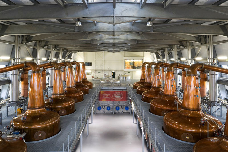 A photo of the whisky stills at Roseisle Distillery. In 2010 RSAN designed and produced an event to mark the official opening of Scotland's new malt whisky distillery – the first to open in more than 30 years