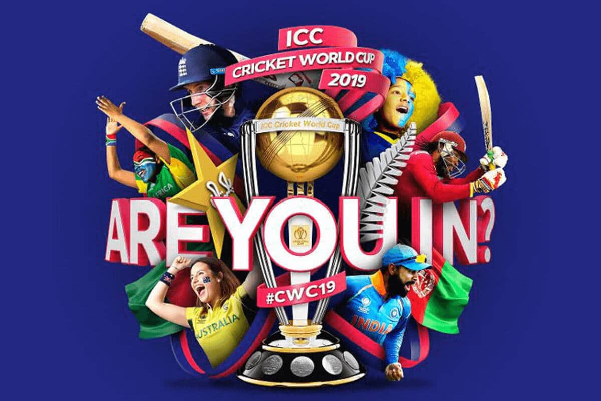A collage image for the ICC Men's Cricket World Cup 2019 showing various cricket players and fans and the words