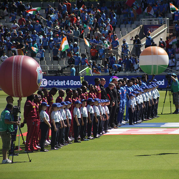 A photo of the West Indian and Indian cricket sides lined up for their national anthems, prior to a match at the ICC Men's Cricket World Cup 2019