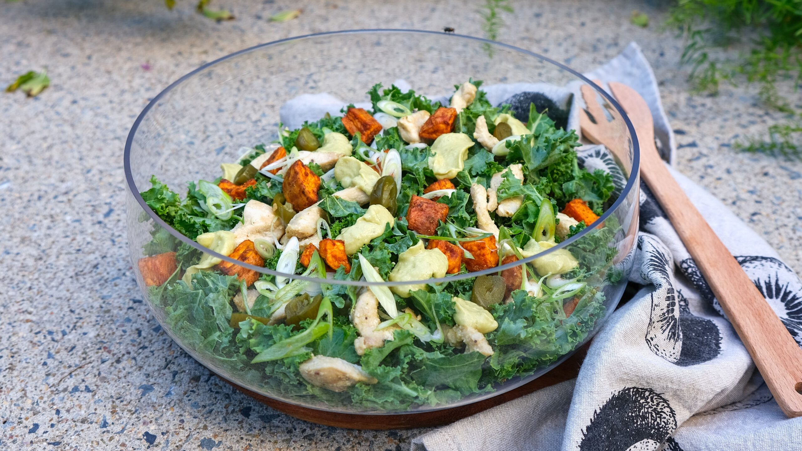 Simple Kale And Chicken Salad (Paleo, Whole30, Low Carb)