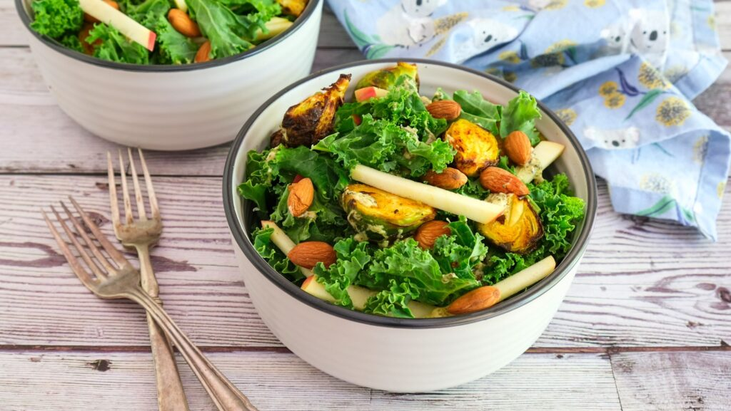 Kale And Brussel Sprouts Salad (Paleo, Whole30, Vegan)
