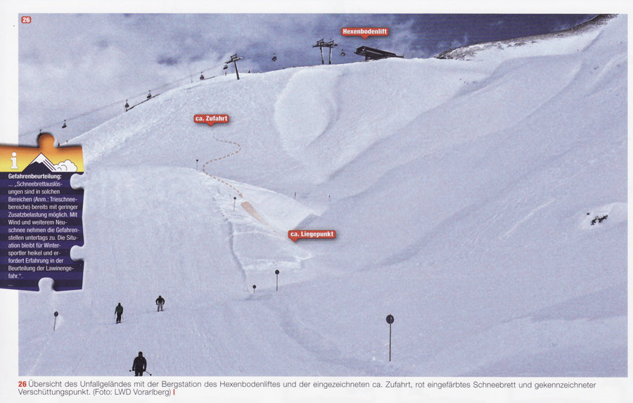 Avalanche Zuers next to the piste