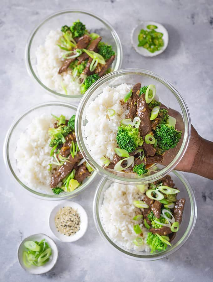 Easy beef and broccoli stir fry meal prep bowls