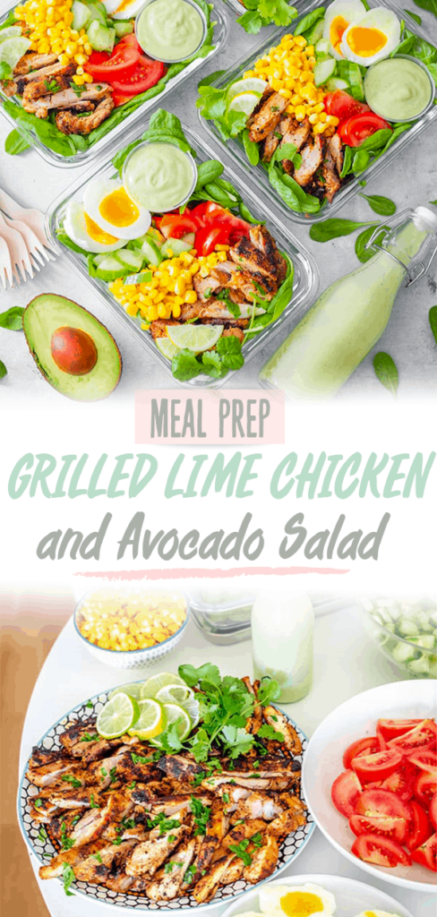 Meal Prep Grilled Lime Chicken and Avocado Salad pinterest pin