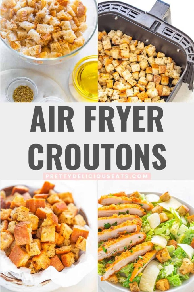 Homemade Easy Air Fryer Croutons Recipe pinterest image