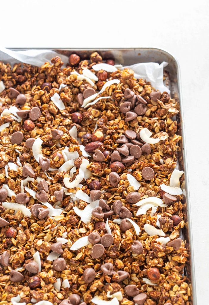Chocolate Protein Granola on a tray
