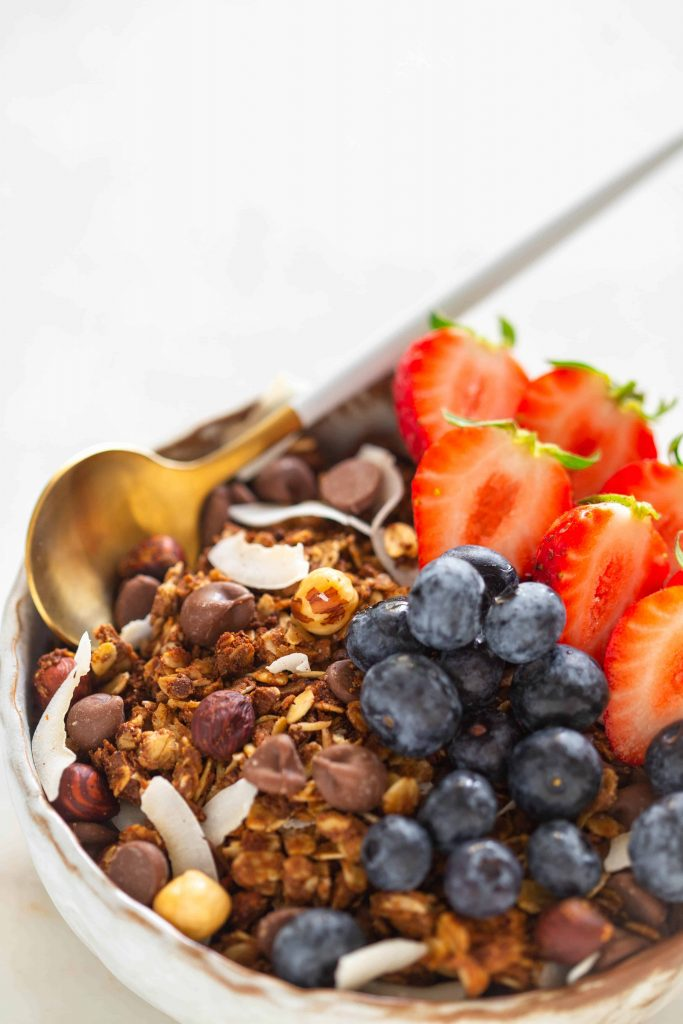 chocolate granola in a bowl