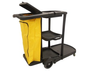 Black Janitors Trolley Two Storage Trays