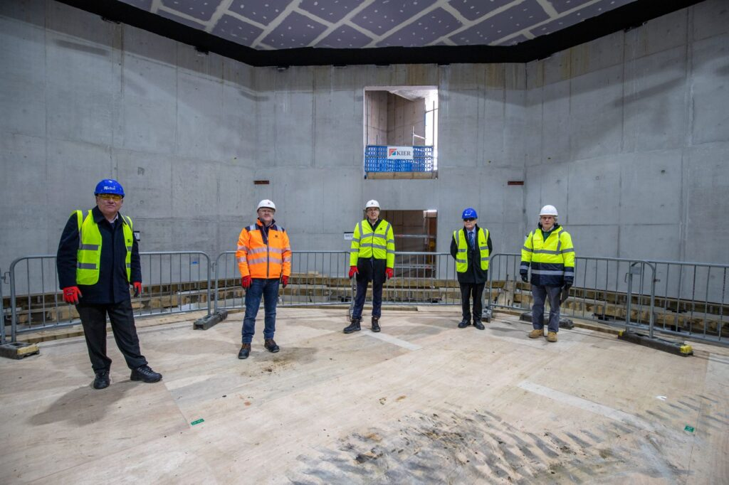 Leader of Knowsley Council, Cllr Graham Morgan; Chief Executive of Knowsley Council; Mike Harden, Metro-Mayor Steve Rotheram; Cllr Tony Brennan and Peter McCurdy at the Shakespeare North Playhouse site.