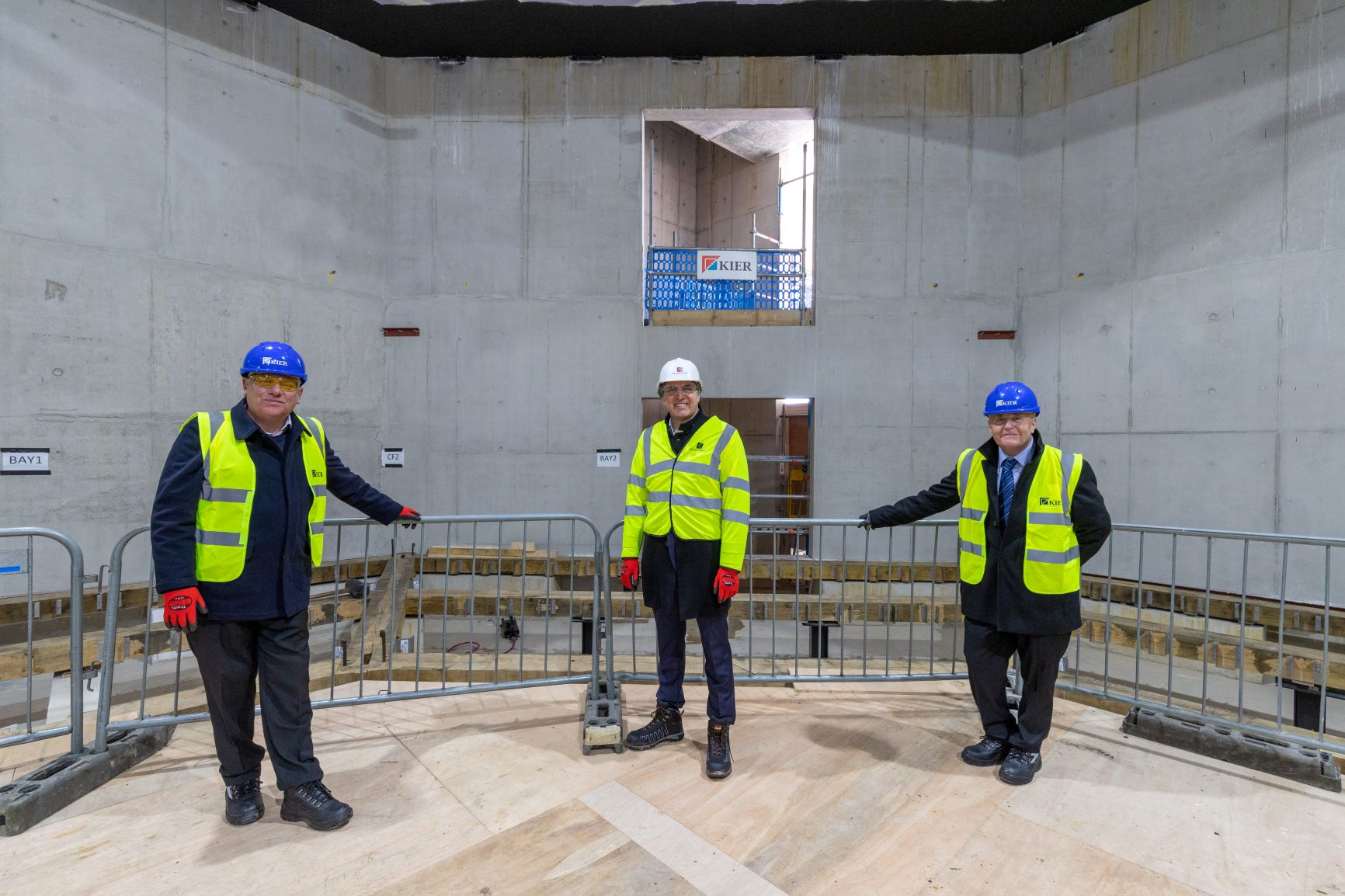 Cllr Graham Morgan, Leader of Knowsley Council; Metro-Mayor Steve Rotheram and Cllr Tony Brennan at the Shakespeare North Playhouse site.