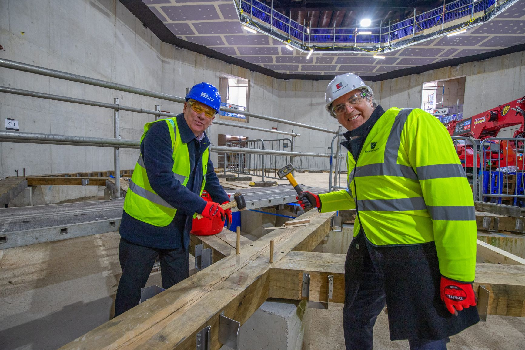 Cllr Graham Morgan and Metro Mayor Steve Rotheram at the Shakespeare North Playhouse site.