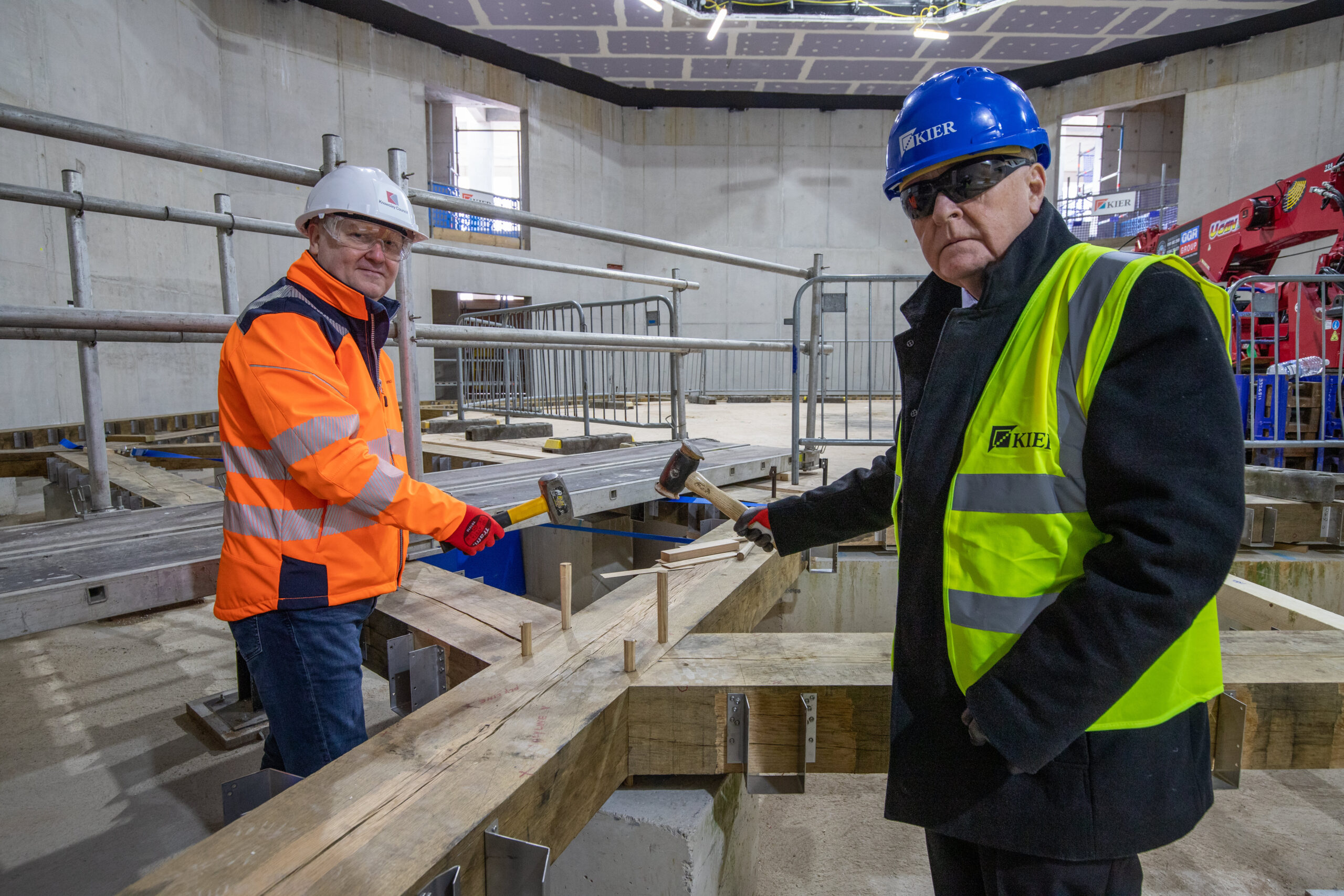 Mike Harden, Chief Executive of Knowsley Council and Cllr Tony Brennan at the Shakespeare North Playhouse site.