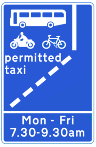 Bus Lane sign showing beginning of bus lane with single operating time and days