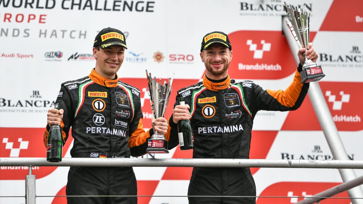 Podium for Orange1 Team GRT in Blancpain GT World Challenge premiere at Brands Hatch