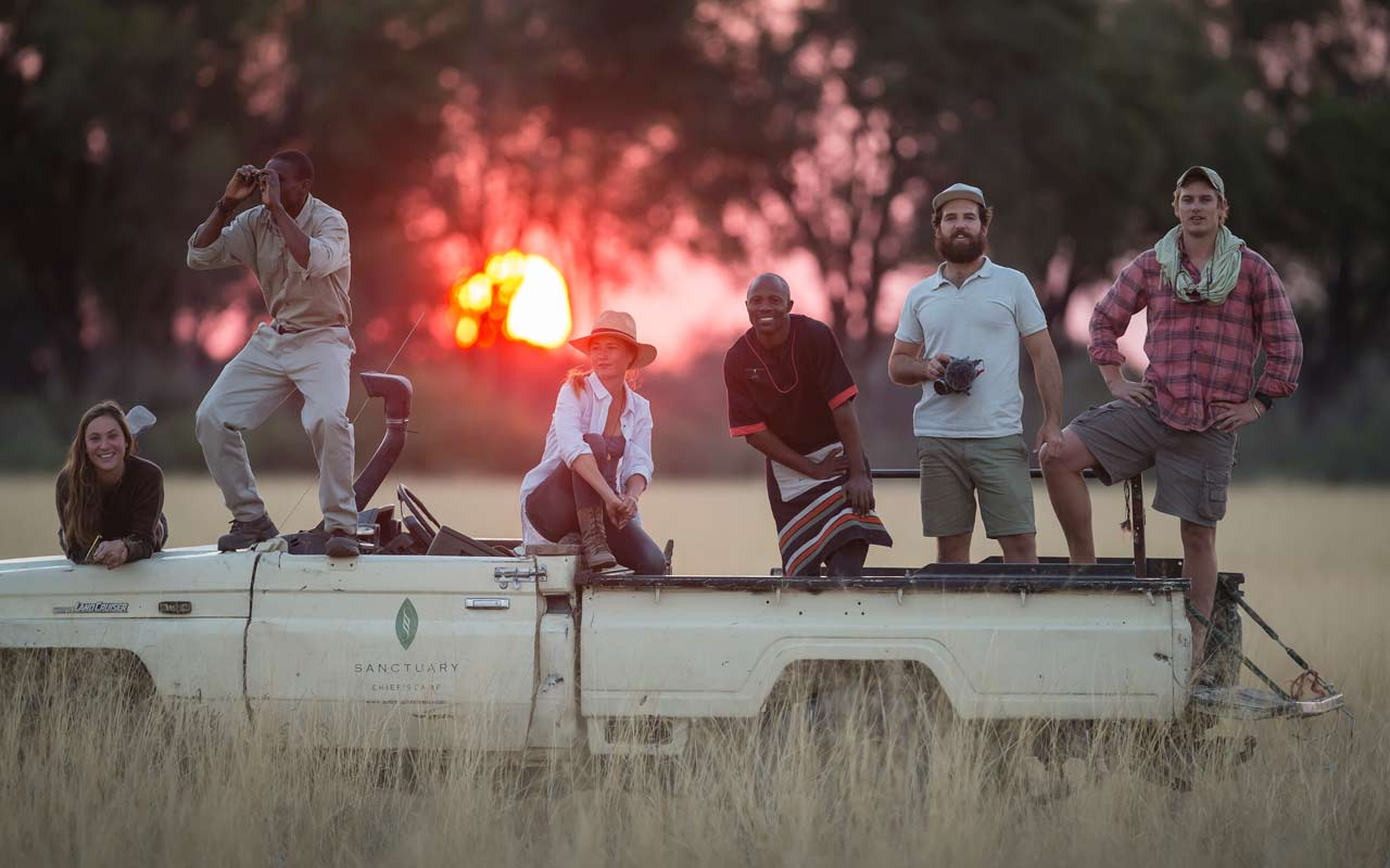 The Black Bean independent film production company crew on location in the Serengeti with Singita.