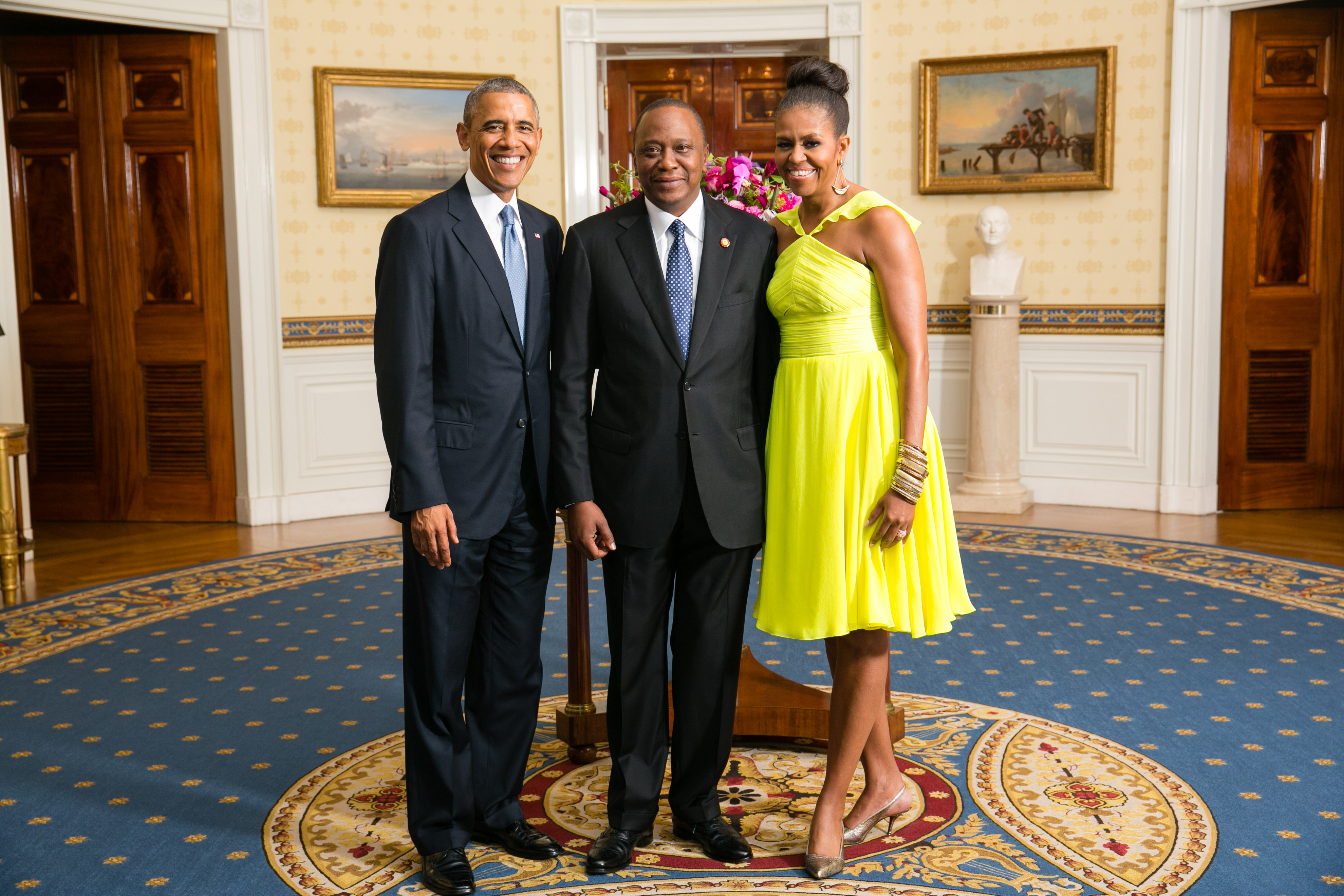 President Barack Obama and First Lady Michelle Obama greet His Excellency Uhuru Kenyatta, President of the Republic of Kenya, in the Blue Room during a U.S.-Africa Leaders Summit dinner at the White House, Aug. 5, 2014. (Official White House Photo by Amanda Lucidon)