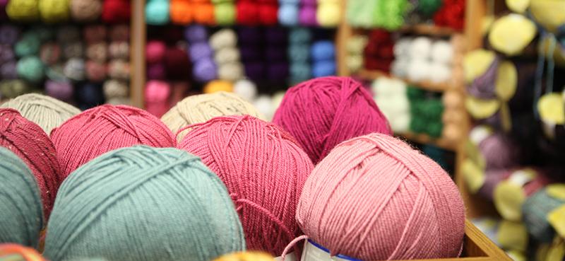 button knit basket of yarn