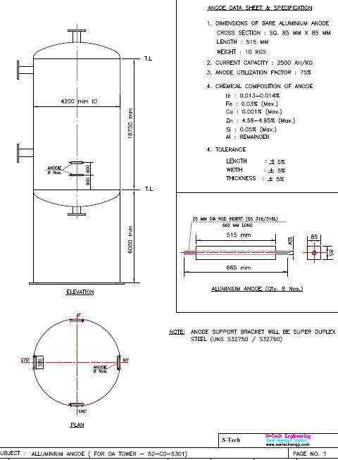 DESIGN AND DETAILS OF SACRIFICIAL CATHODIC PROTECTION TO DA TOWER.