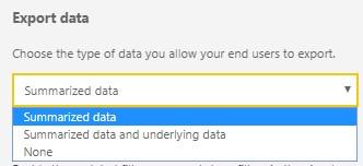 Report Settings Export Data options