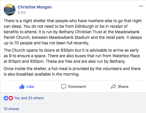 meadowbank parish church night shelter