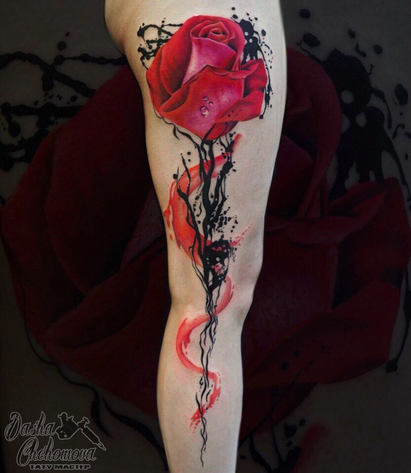 trash polka rose tattoo