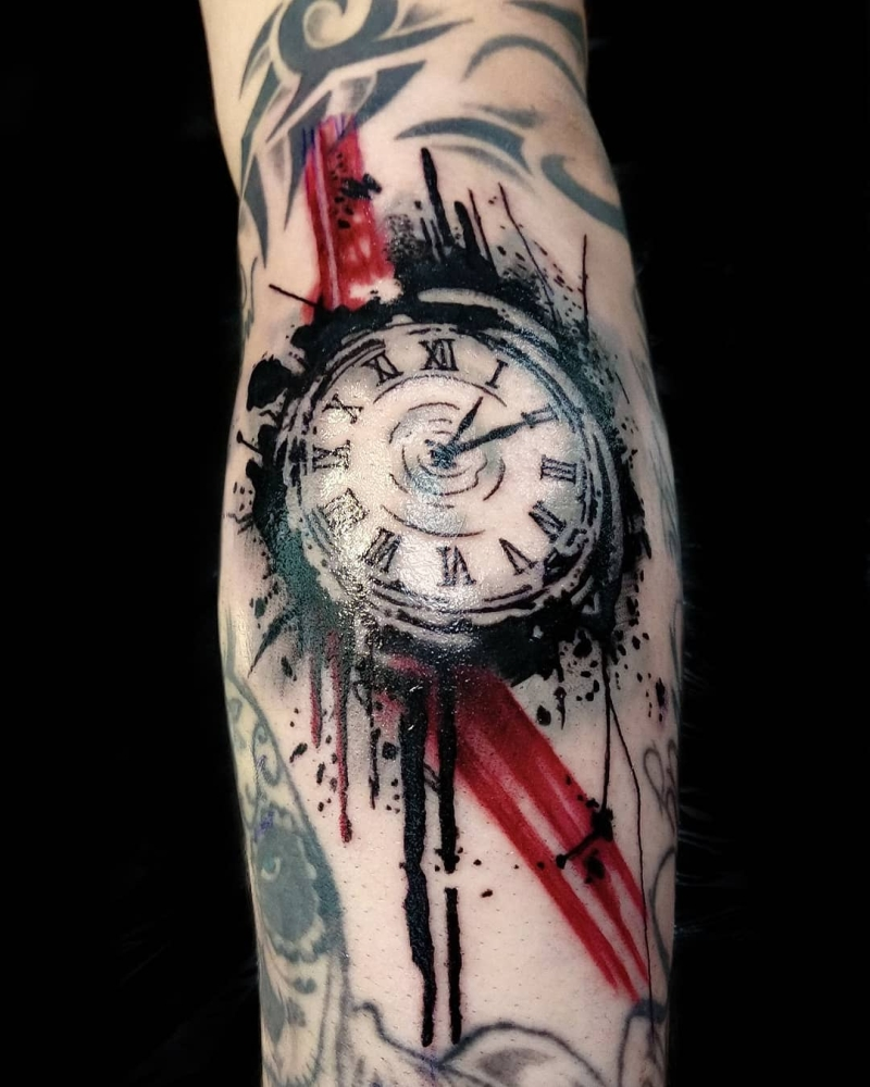 trash polka clock tattoo