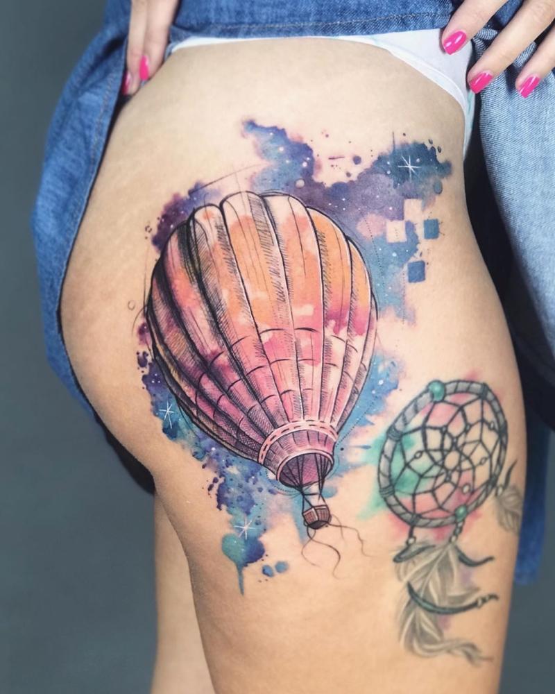 watercolor balloon tattoo