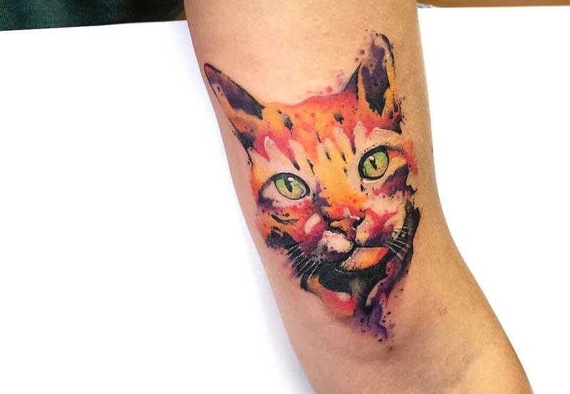 watercolor cat tattoo