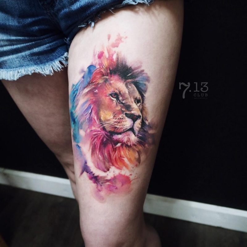 watercolor lion tattoo